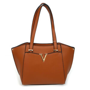 L&F Top Zip Satchel Handbag w/ V Mark Brown