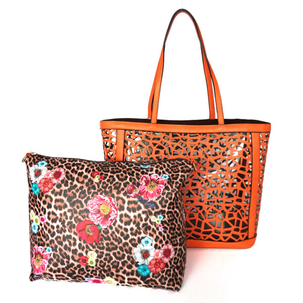 Calin Collection Faux Leather Large Tote Handbag w/ Small Bag Orange