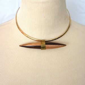 Carved Double Pointed Wooden Pendant Wire Choker Necklace