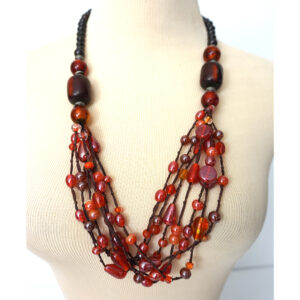 Multi Glass & Faux Tort Beaded & Multi String Necklace