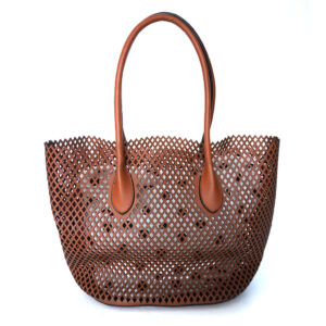 2-N-1 Colin Collection Medium Mesh Faux Leather Handbag and Small Bag - Brown