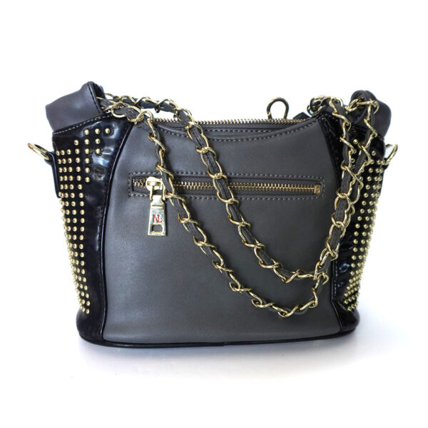 Nicole Lee Small w/ Feather Faux Leather & Gold Studs Handbag