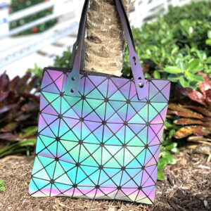 Geometric Luminous Holographic Medium Handbag - Multi-color