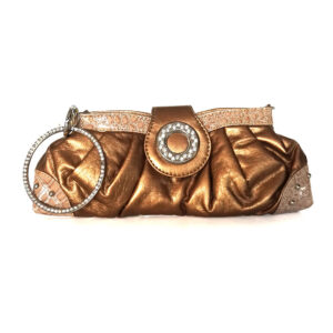 Bella Collection Small Clutch with Faux Diamonds Handbag - Bronze