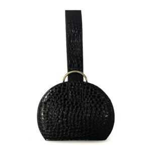 Toami Small Slim Dome Embossed Alligator Faux Leather Handbag - Black